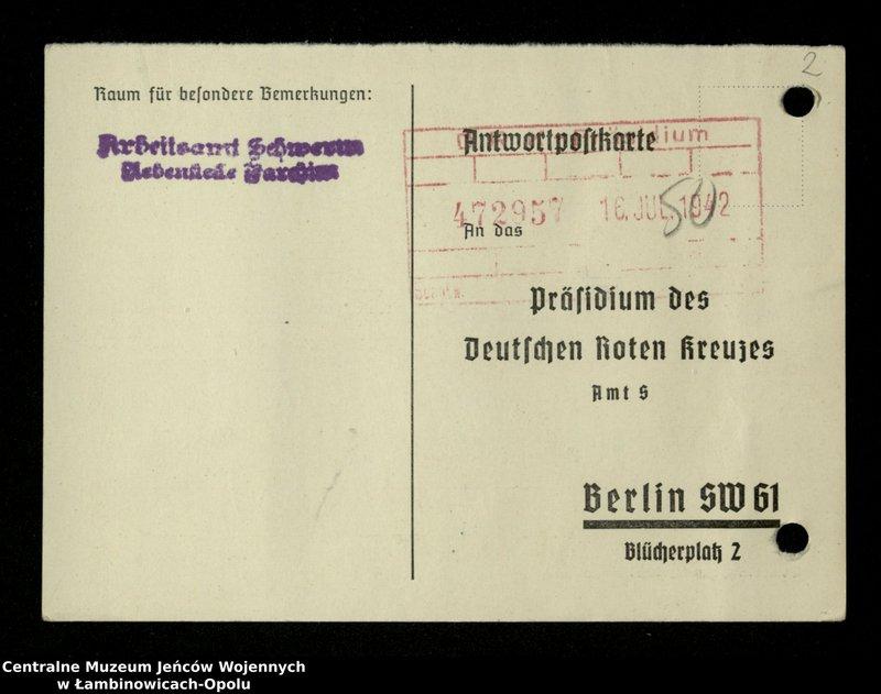 """Obraz 3 z jednostki """"Poszukiwania jeńców polskich zwolnionych z niewoli niemieckiej jako robotnicy cywilni, lit. Ada-Bod"""""""