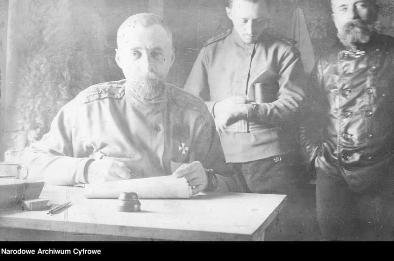 """Obraz z jednostki """"Oficerowie rosyjskiego 12 Dywizjonu Artylerii Moździerzy w Galicji lub na Słowacji"""""""