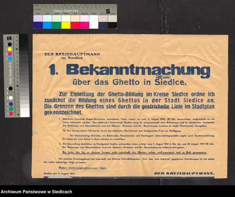 """Obraz 1 z kolekcji """"Afisze okupacyjne powiatu siedleckiego 1939-1944"""""""
