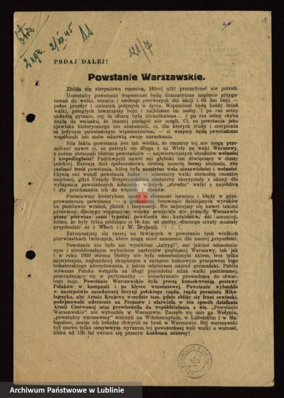 """Obraz 5 z kolekcji """"I rocznica Powstania Warszawskiego"""""""