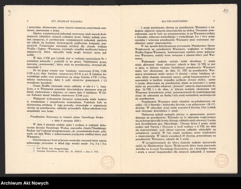 """Obraz 9 z jednostki """"Materiały dotyczące wojny 1920 roku. Odpisy akt, plany, wycinki prasowe. """""""