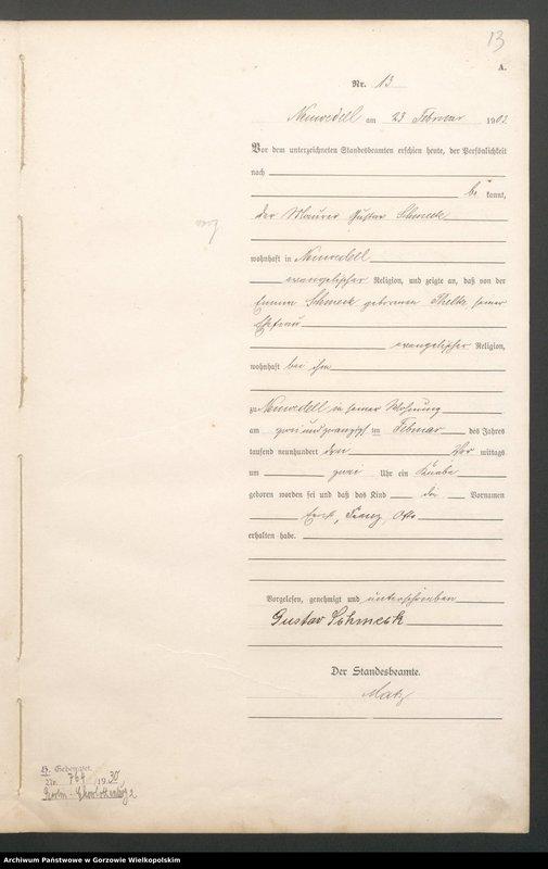 "Obraz 15 z jednostki ""Geburts Register"""