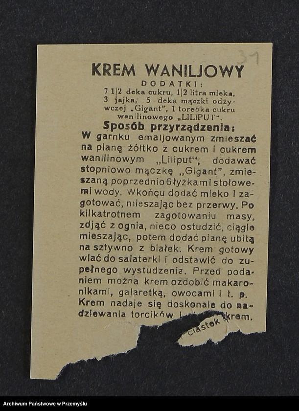 """Obraz z kolekcji """"Przepisy kulinarne z kalendarza z 1935 roku"""""""