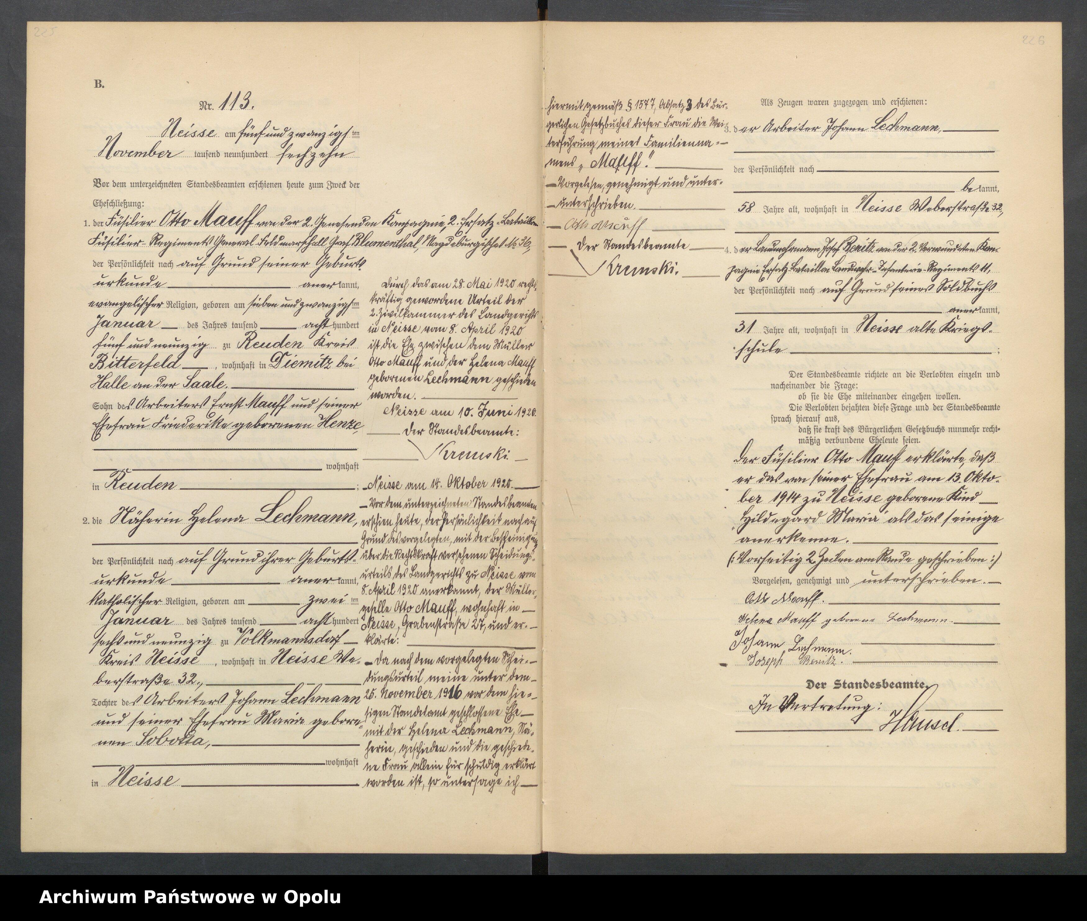 Skan z jednostki: Heirats-Register (Haupt-Register) Standesamt Neisse 1916 vol.I No.1 bis 123.