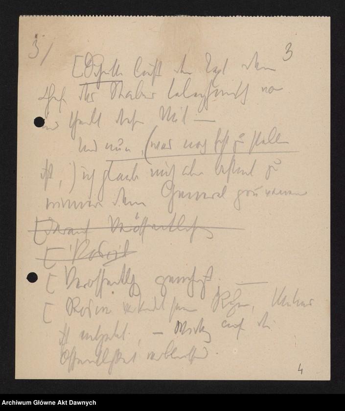 """Obraz 5 z jednostki """"Betr[ifft] Festnahme Pilsudskis [Rękopis tekstu """"Uwięzienie Piłsudskiego"""" i korespondencja urzędowa Szefa Administracji dotycząca kolejnych wersji opracowania]."""""""