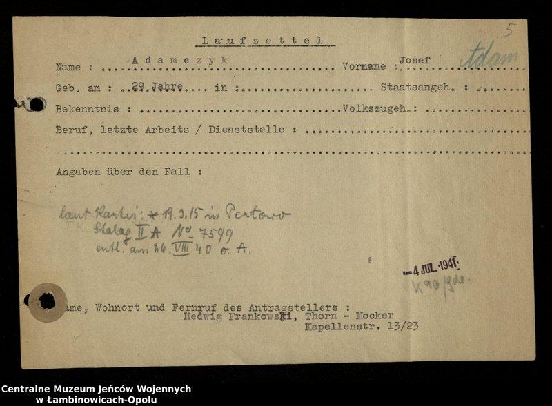 """Obraz 6 z jednostki """"Poszukiwania jeńców polskich zwolnionych z niewoli niemieckiej jako robotnicy cywilni, lit. Ada-Bod"""""""
