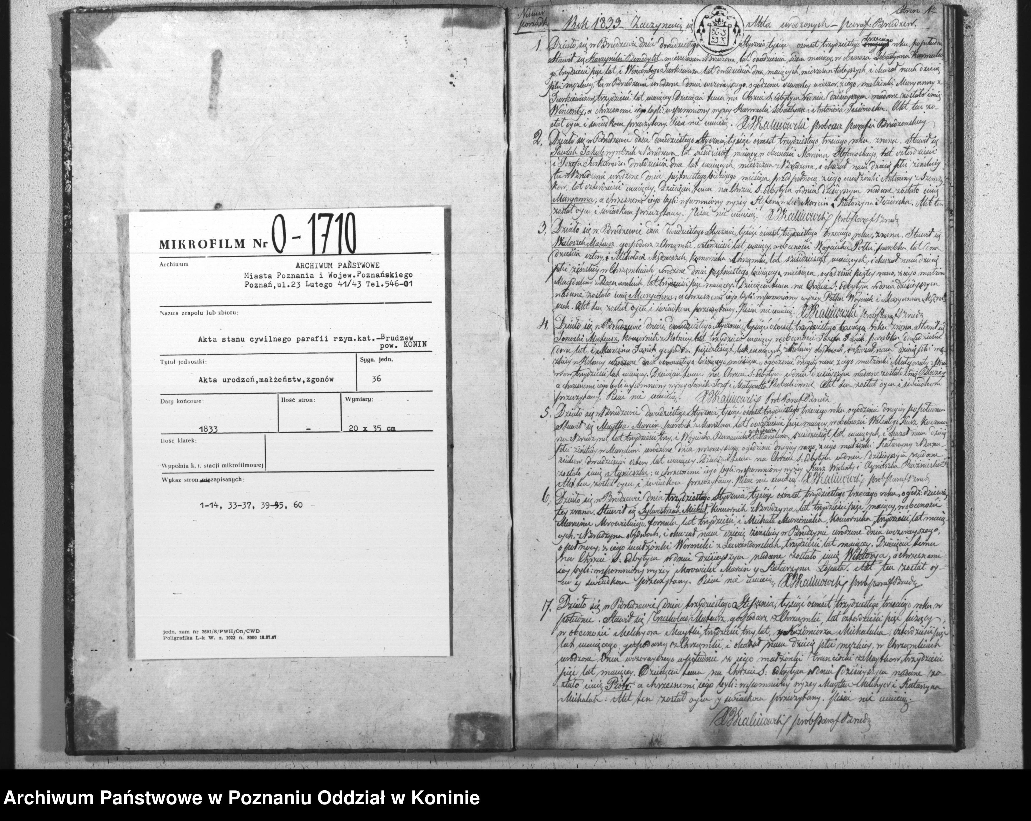 Skan z jednostki: Akta urodzeń, małżeństw i zgonów