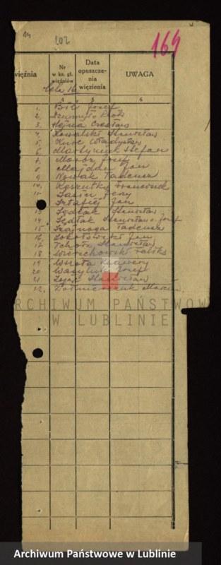 """Obraz 12 z jednostki """"[Wykazy aresztowanych członków Armii Krajowej przetrzymywanych w więzieniach w Biłgoraju, Wronkach i innych na terenie kraju oraz w ZSRR]"""""""