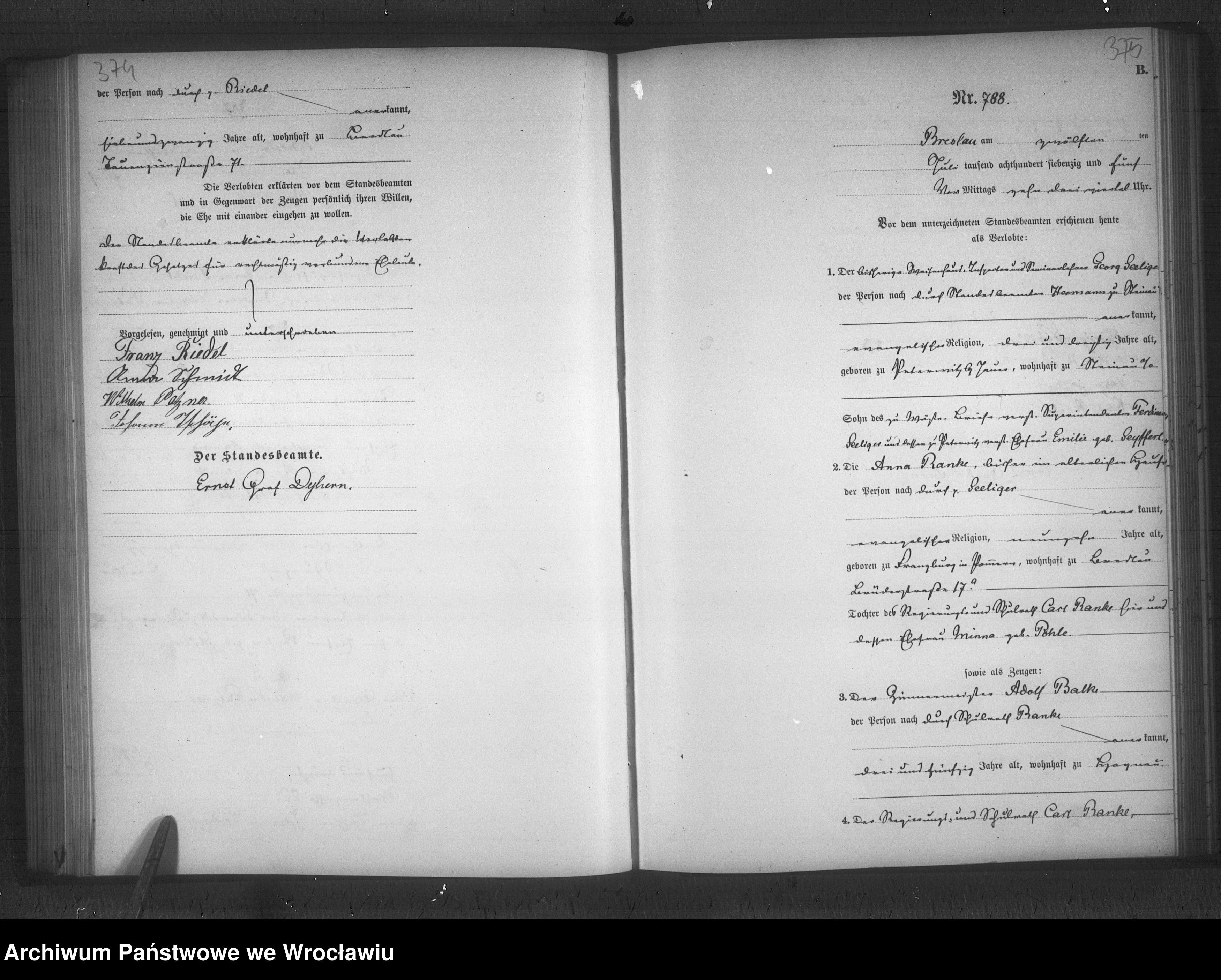 Skan z jednostki: Heiraths-Haupt-Register Breslau II 1875 Band 3