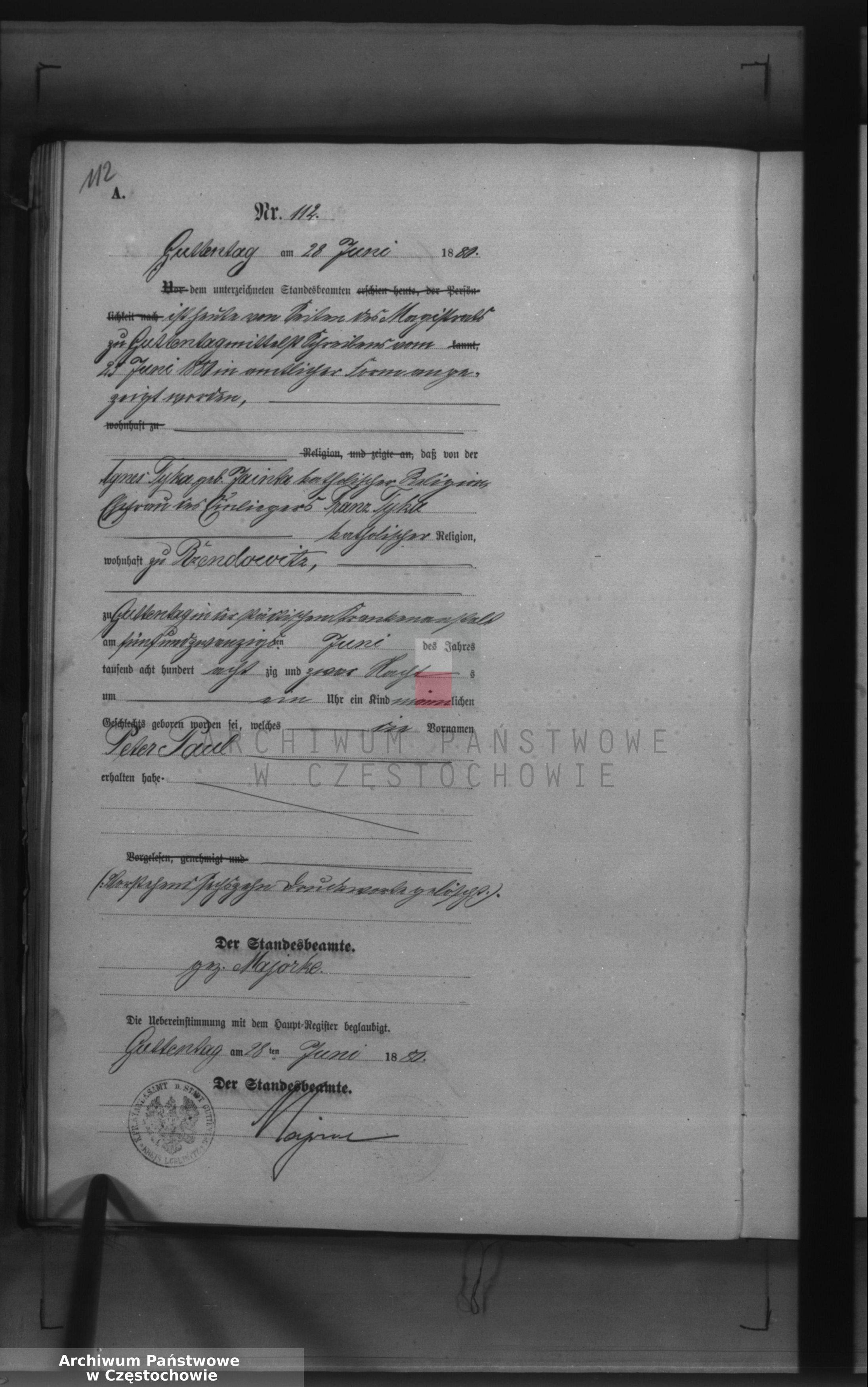 Skan z jednostki: Geburts - Neben Register des Königlich Preussischen Standesamts Guttentag im Kreise Lublinitz pro 1880.
