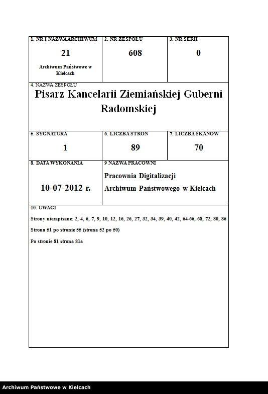 """Obraz z zespołu """"Pisarz Kancelarii Ziemiańskiej Guberni Radomskiej"""""""