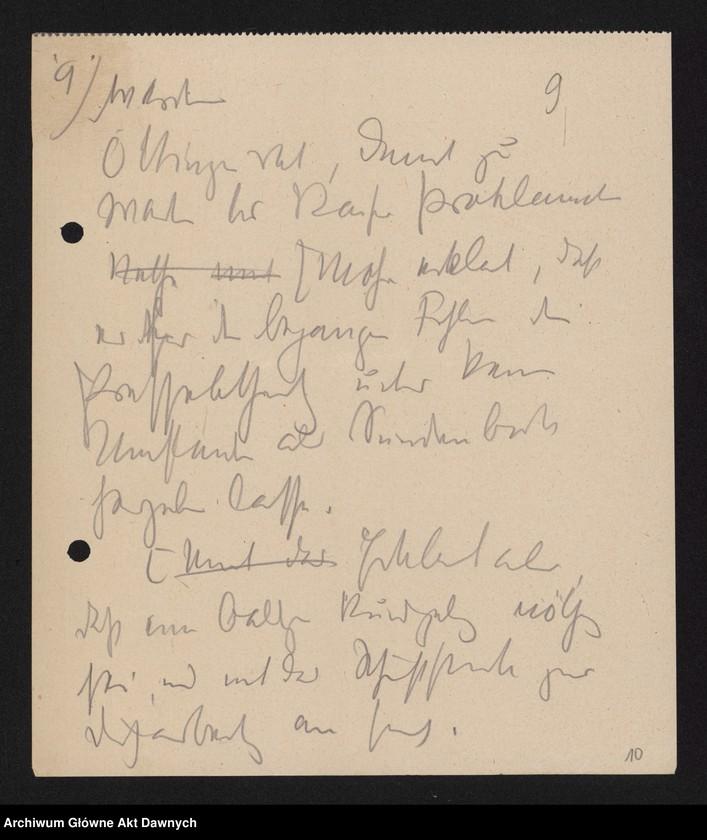 """Obraz 11 z jednostki """"Betr[ifft] Festnahme Pilsudskis [Rękopis tekstu """"Uwięzienie Piłsudskiego"""" i korespondencja urzędowa Szefa Administracji dotycząca kolejnych wersji opracowania]."""""""