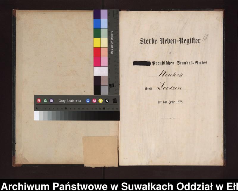 """Obraz z jednostki """"Sterbe-Neben-Register des Preussischen Standes-Amtes Neuhoff Kreis Loetzen"""""""