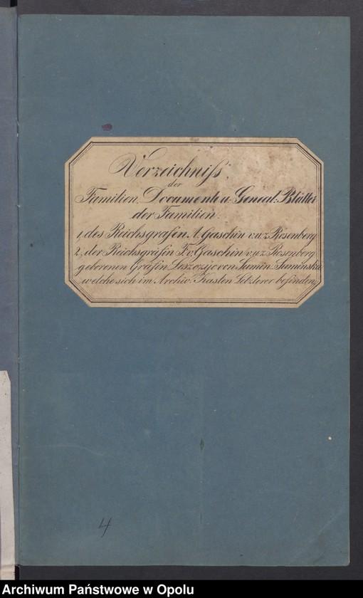 """Obraz z jednostki """"Verzeichniß u. [und] Beschreibung der Stammtafel, Adels-Diplome etc. des Reichsgrafen A. [Amand] Gaschin u. [und] Familie"""""""