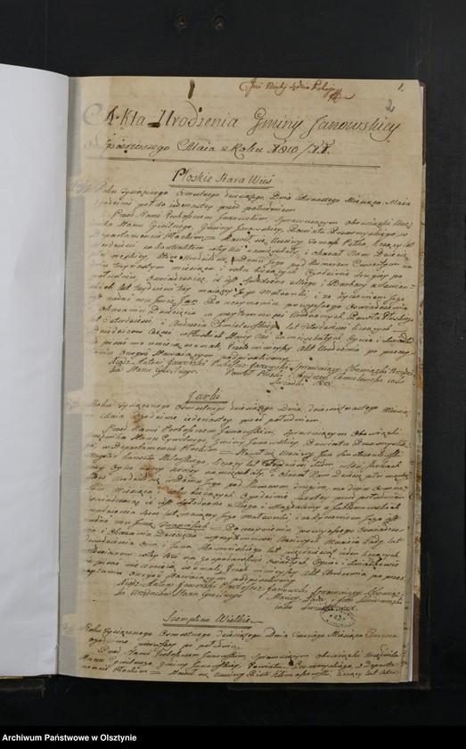 """image.from.unit """"Akta Urodzenia Gminy Janowskiey w Departamncie Płockim Powiecie Przasnyskim Spisane 1810/11"""""""