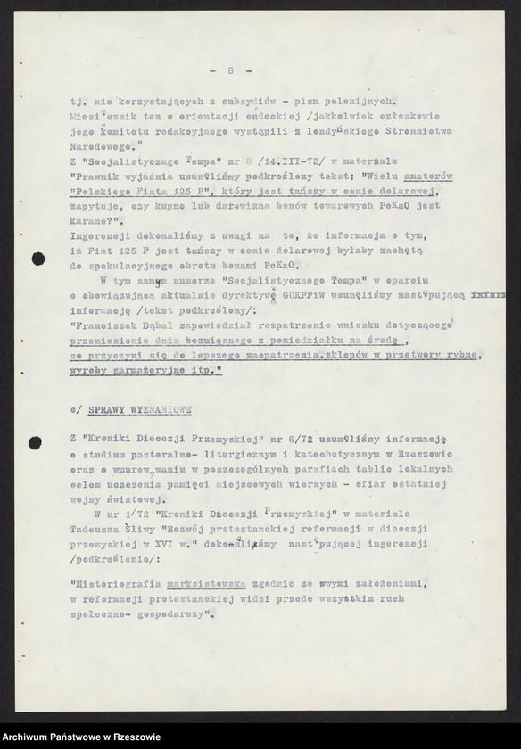 """Obraz 1 z kolekcji """"Wojewódzki Urząd Kontroli Prasy, Publikacji i Widowisk w Rzeszowie"""""""