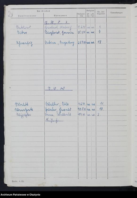 "Obraz z jednostki ""Geburtenbuch/Zweitbuch/Nr 1 - 18"""