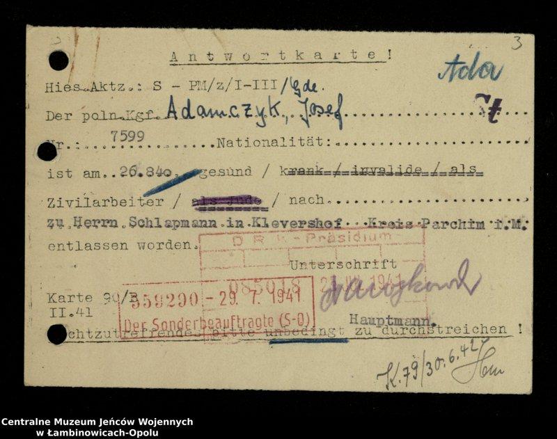 """Obraz 4 z jednostki """"Poszukiwania jeńców polskich zwolnionych z niewoli niemieckiej jako robotnicy cywilni, lit. Ada-Bod"""""""