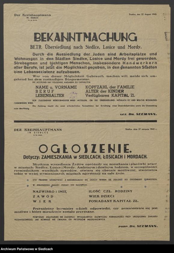 """Obraz 18 z kolekcji """"Afisze okupacyjne powiatu siedleckiego 1939-1944"""""""