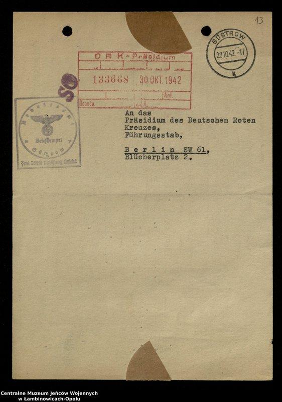 """Obraz 13 z jednostki """"Poszukiwania jeńców polskich zwolnionych z niewoli niemieckiej jako robotnicy cywilni, lit. Ada-Bod"""""""