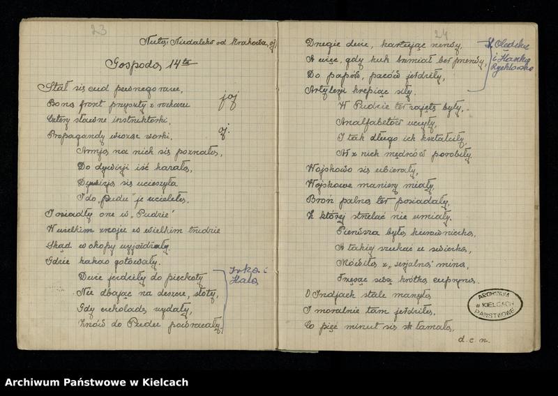 """Obraz 16 z jednostki """"Notatnik z piosenkami S.P. i O. z 1920 roku oraz Notesik żołnierski Stanisławy Olędzkiej-Daszewskiej"""""""