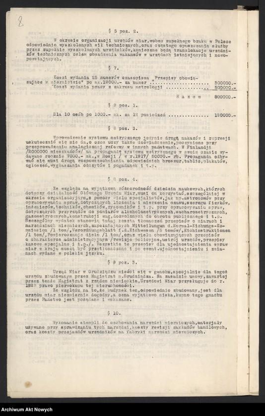 """Obraz 8 z jednostki """"Budżet Służbowy Legalizacji Narzędzi Mierniczych [w skład, której wchodzi Główny Urząd Miar i podległe mu urzędy okręgowe w b. zaborze rosyjskim, na Śląsku Cieszyńskim, w b. zaborze austriackim, pruskim i na Kresach Wschodnich], na [okres 1 I - 31 XII] 1922 r. [Wyjaśnienia ogólne, zestawienie.]"""""""