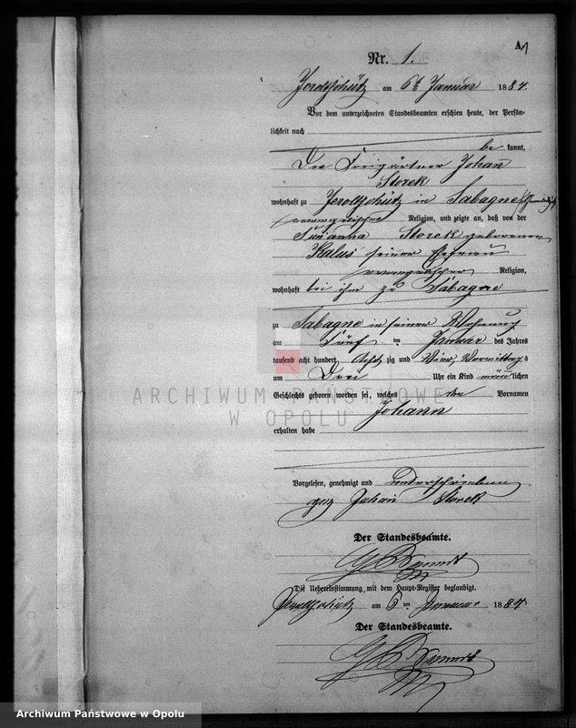 """Obraz z jednostki """"Geburts-Neben-Register Standesamts Jeroltschütz pro 1884"""""""
