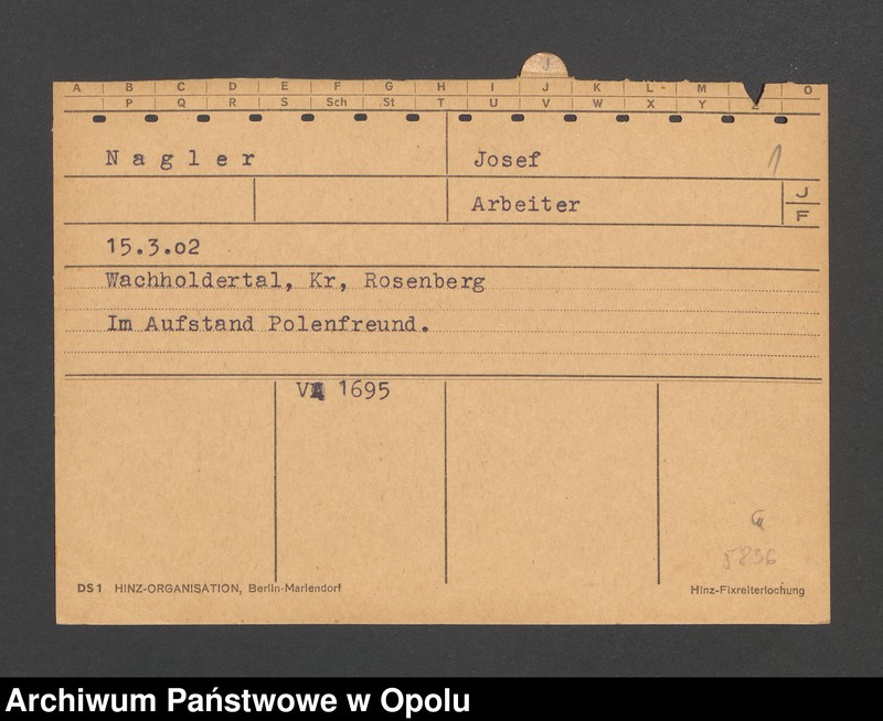 """Obraz 3 z jednostki """"[Nagler Josef, ur. 15.3.1902, zam. Wachholdertal]"""""""