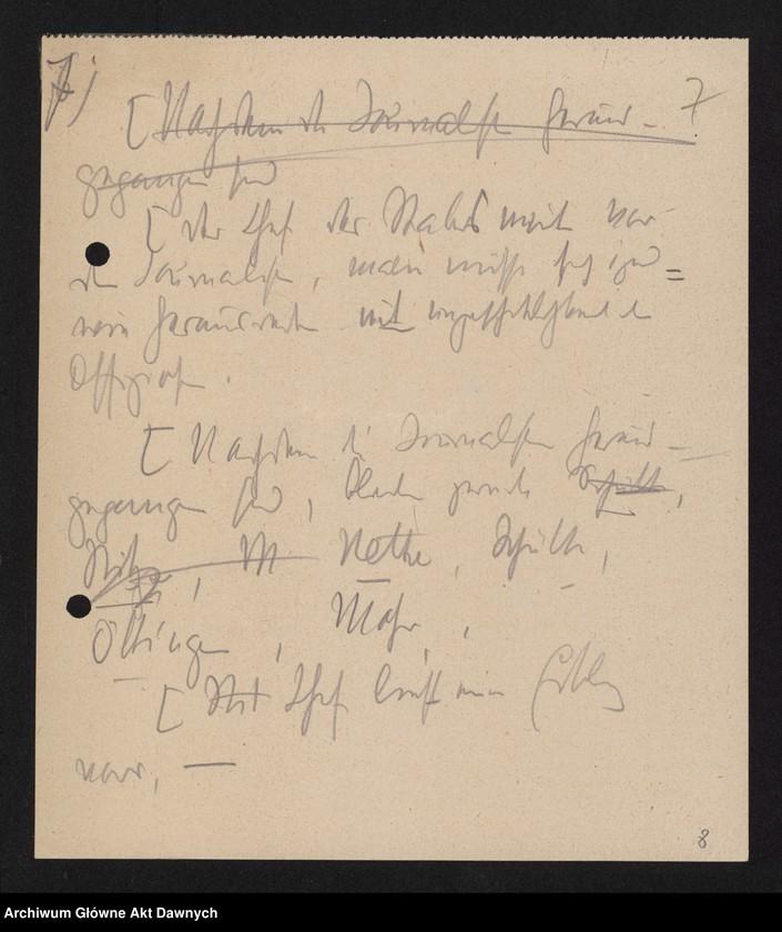 """Obraz 9 z jednostki """"Betr[ifft] Festnahme Pilsudskis [Rękopis tekstu """"Uwięzienie Piłsudskiego"""" i korespondencja urzędowa Szefa Administracji dotycząca kolejnych wersji opracowania]."""""""