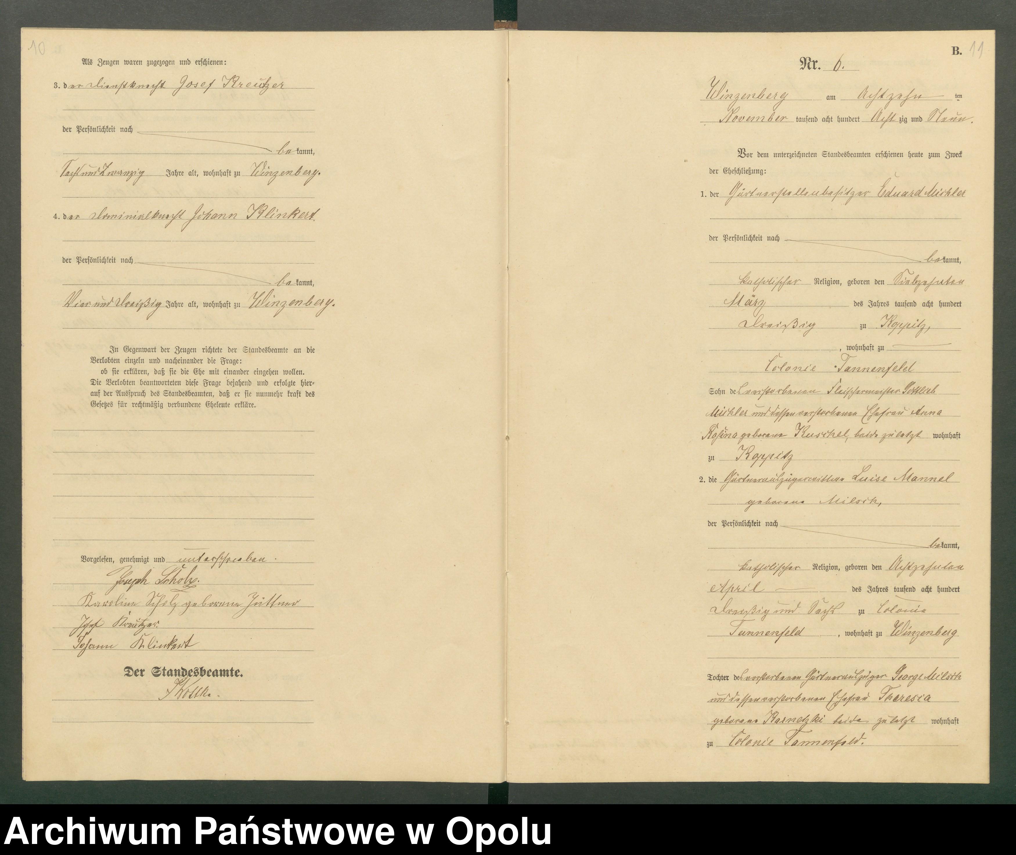 Skan z jednostki: Heiraths-Haupt-Register Standesamts Winzenberg pro 1889