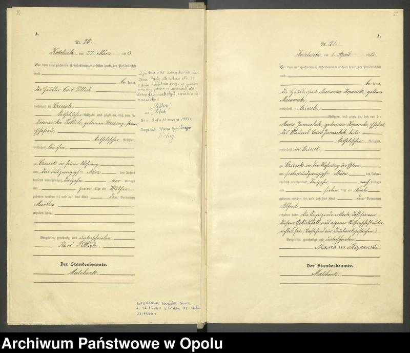 """Obraz 13 z jednostki """"Urząd Stanu Cywilnego Kobylice Księga Urodzeń Rok 1913"""""""