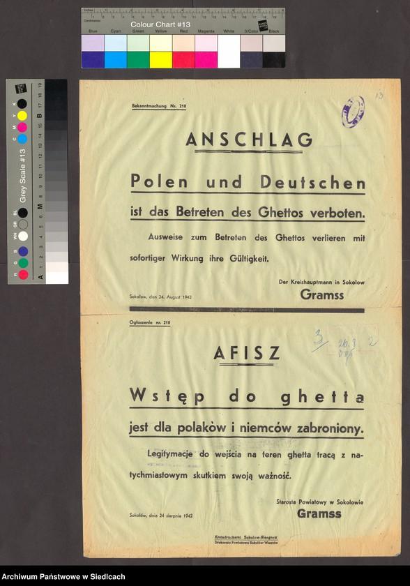 """Obraz 2 z kolekcji """"Afisze okupacyjne powiatu sokołowskiego 1939-1944"""""""