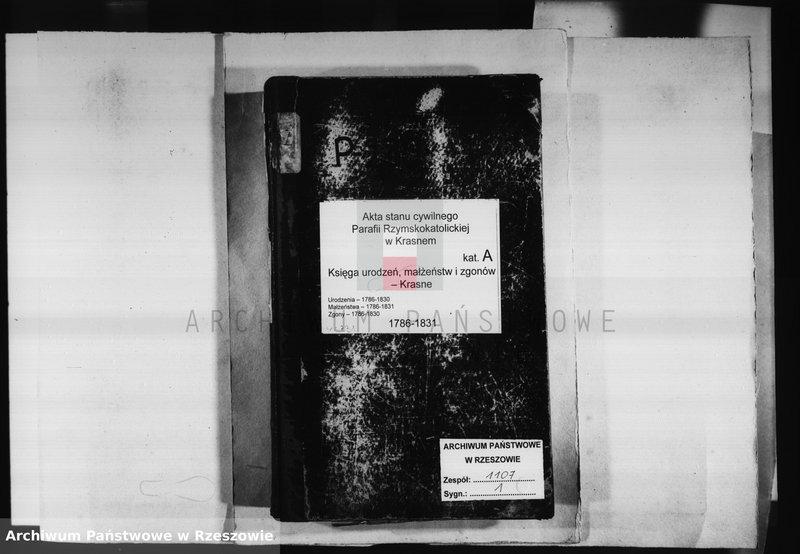 """Obraz z jednostki """"Księga urodzeń, małżeństw i zgonów - Krasne - urodzenia 1786 - 1830, małżeństwa 1786 - 1831 zgony 1786 - 1830"""""""