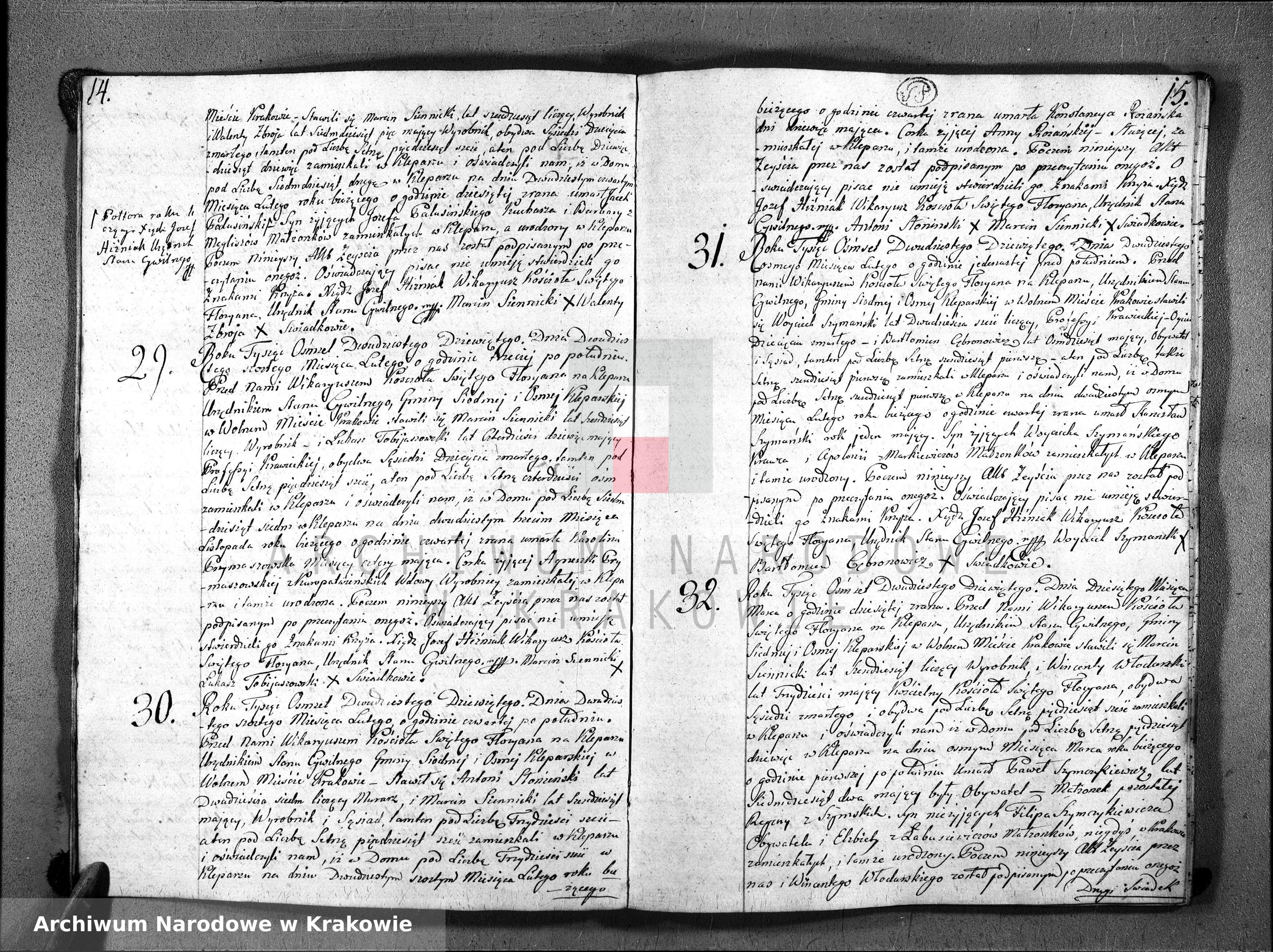 Skan z jednostki: Księga Aktów Zeyścia Parafii Sgo Floryana na Rok 1829