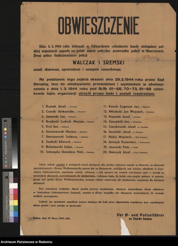 """Obraz 9 z kolekcji """"Represje niemieckie w Dystrykcie Radomskim."""""""