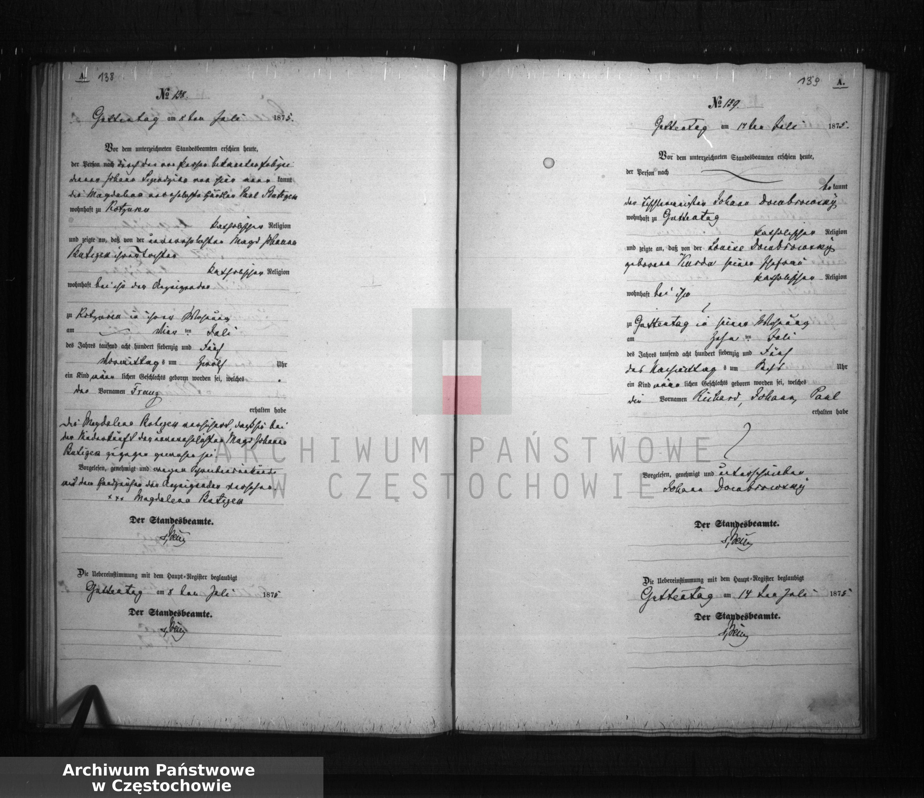Skan z jednostki: [Wtóropis aktów urodzeń z 1875 roku ].