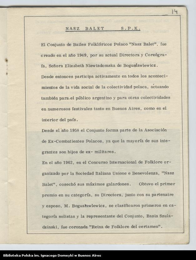 """Obraz 11 z kolekcji """"Nasz Balet 1949-1974 z Biblioteki Polskiej im. Domeyki w Buenos Aires"""""""