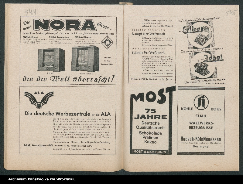 """Obraz 16 z kolekcji """"Reklamy znanych marek w roczniku """"Unsere Saar"""" z 1935 roku"""""""