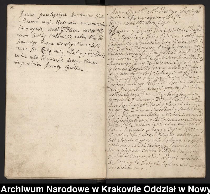 """Obraz 1 z kolekcji """"Fragment księgi wójtowsko-ławniczej miasta Limanowej z lat 1750-1818"""""""