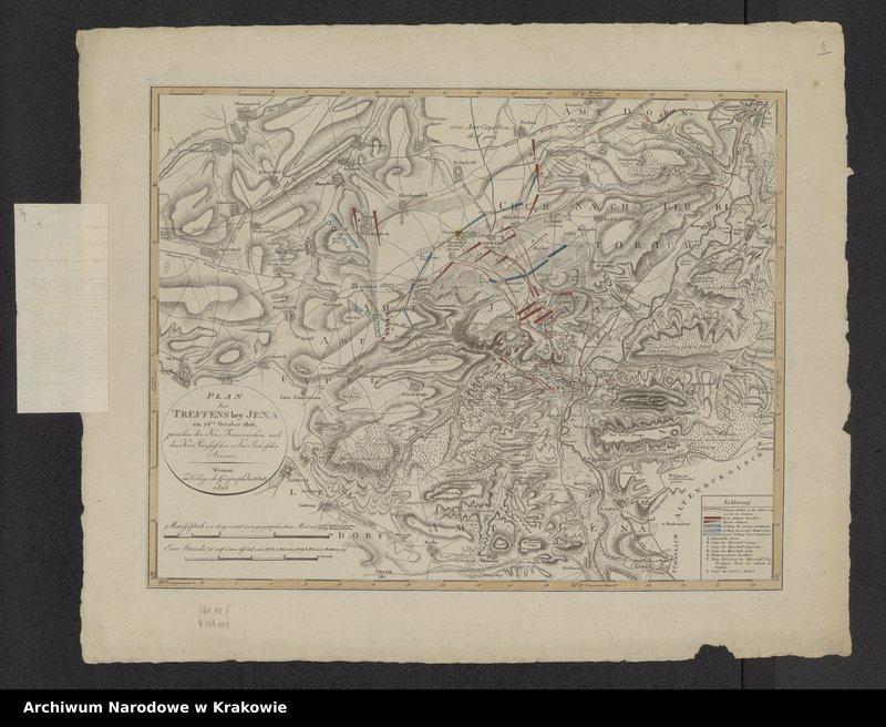 """Obraz z jednostki """"Plan des Treffens bey Jena am 14 October 1806 zwischen Kais. Französischen und den Kön. Preussischen und Kur. - Sächsischen Armen."""""""