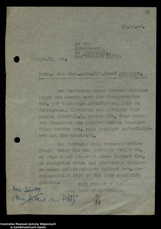 """Obraz 11 z jednostki """"Poszukiwania jeńców polskich zwolnionych z niewoli niemieckiej jako robotnicy cywilni, lit. Ada-Bod"""""""