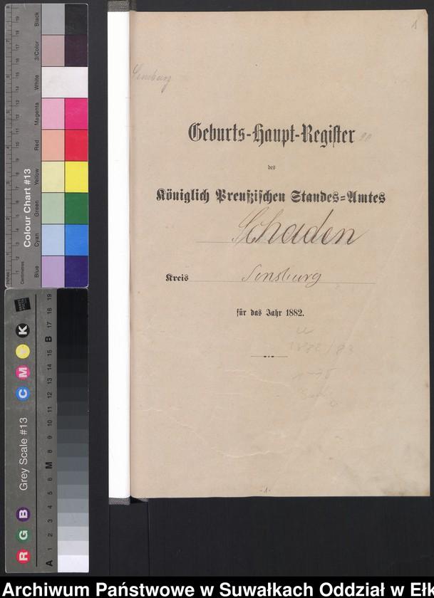 """Obraz z jednostki """"Geburts-Haupt-Register des Königlich Preussischen Standes-Amtes Schaden Kreis Sensburg"""""""