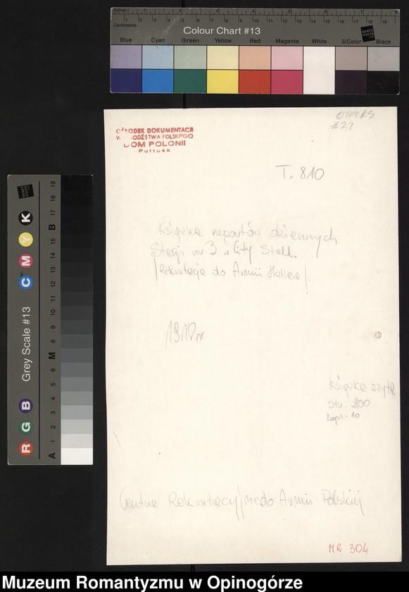 """Obraz 3 z jednostki """"Księga raportów dziennych Stacji nr 3 w City Stall. (Rekrutacja do Armii Hallera)."""""""