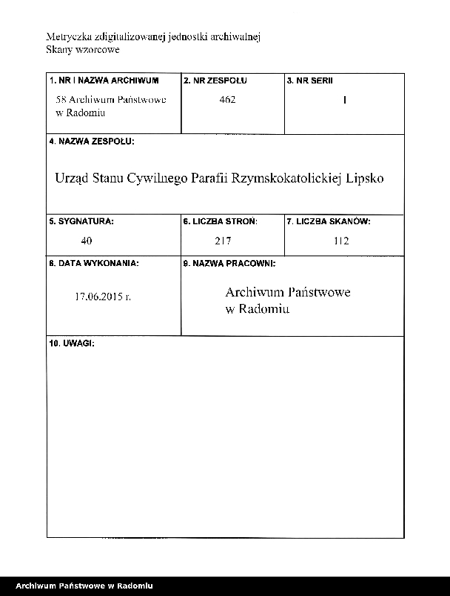 """Obraz 2 z jednostki """"[Duplikat akt urodzonych, zaślubionych i zmarłych parafii Lipsko za 1914 r.]"""""""