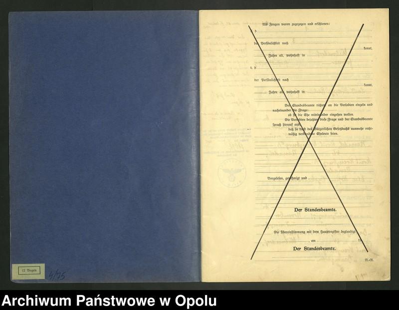"Obraz 3 z jednostki ""Heirats-Register (Neben-Register) Standesamt Wilmsdorf Kreis Kreuzburg O/S 1935 vol.61 No. 1 bis 12"""