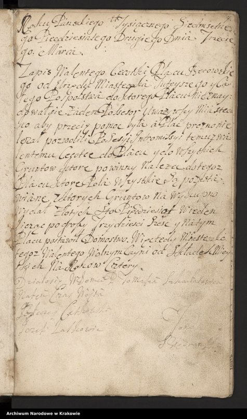 """Obraz 16 z kolekcji """"Fragment księgi wójtowsko-ławniczej miasta Limanowej z lat 1750-1818"""""""