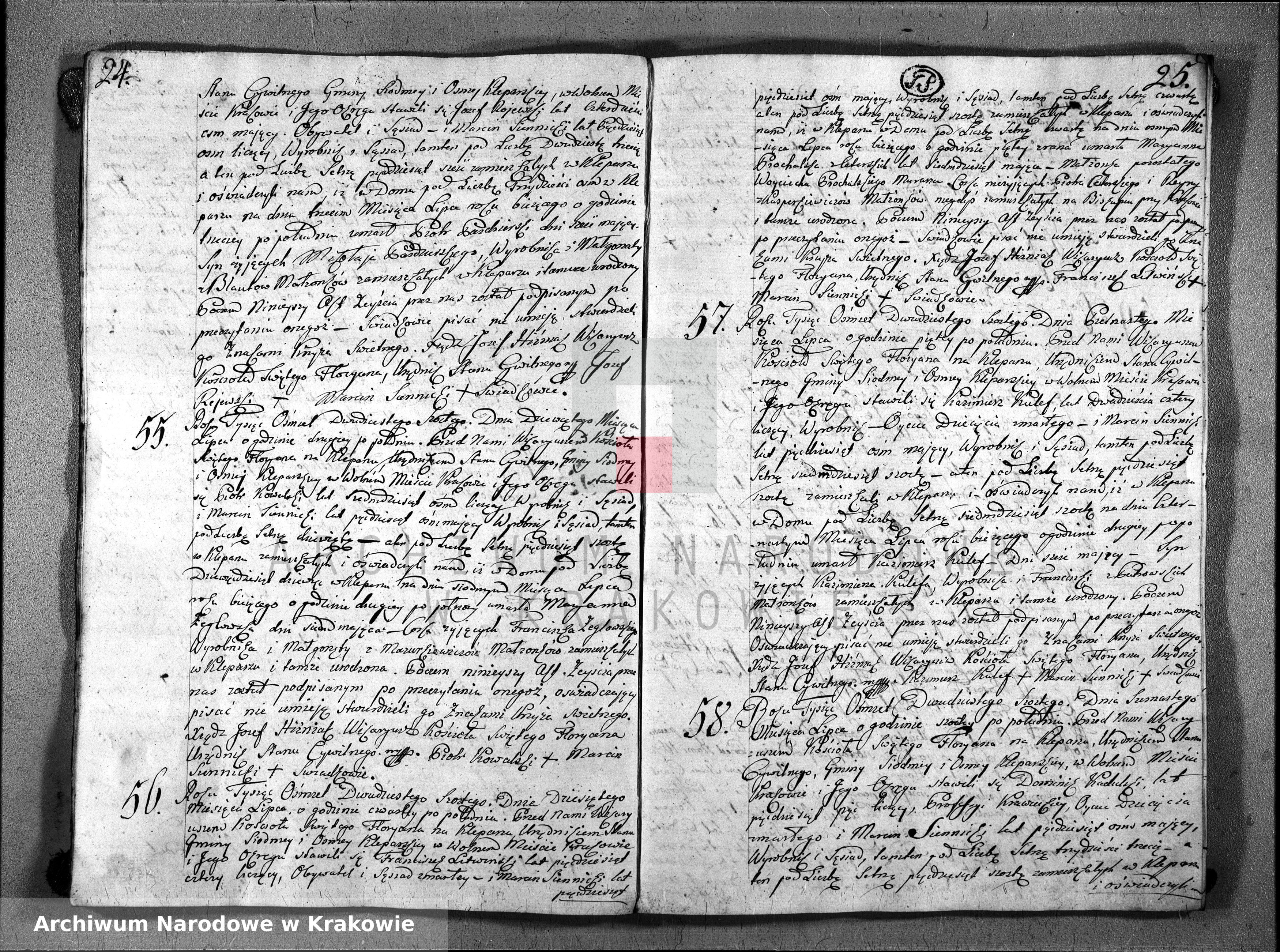 Skan z jednostki: Księga Aktów Zeyścia Parafii Sgo Floryana na Rok 1826ty