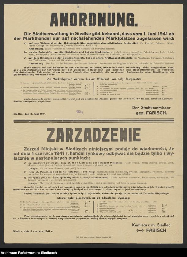 """Obraz 3 z kolekcji """"Afisze okupacyjne powiatu sokołowskiego 1939-1944"""""""