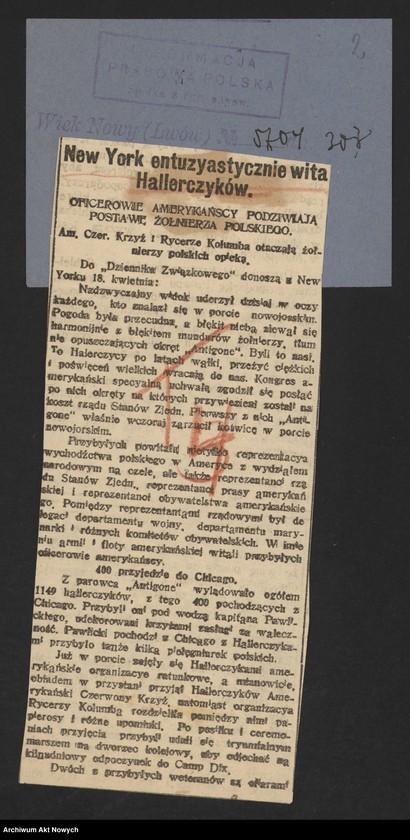 """Obraz 4 z jednostki """"Walki Armii Ochotniczej pod Warszawą. Wycinki prasowe."""""""