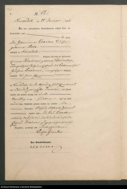 "Obraz 14 z jednostki ""Geburts Register"""